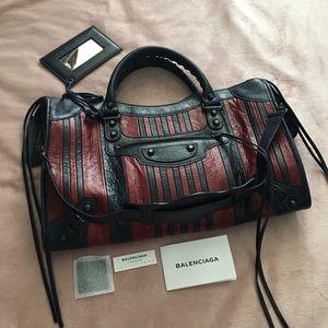 Balenciaga Bags - Balenciaga bag, new medium Marine/Bordeaux Stripes
